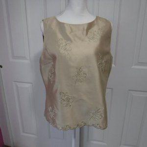 NWT Talbots Silk Embroidered Sleeveless Top Sz 16